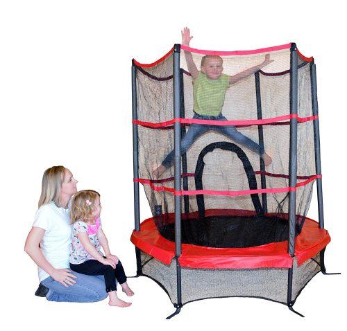 Propel trampoline with enclosure
