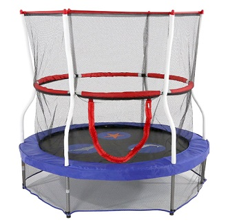 "Skywalker Trampolines 60"" Round Seaside Adventure Trampoline Mini Bouncer with Enclosure"